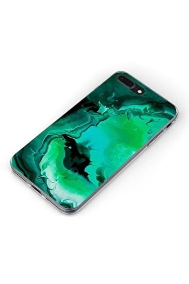 Lopard Apple İphone 8 Plus Kılıf Yeşil Mermer Kapak Renkli